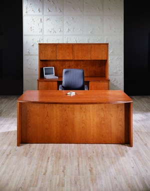 forte bow front desk credenza hutch suite