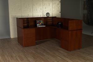 reception desk work surface pedestal view