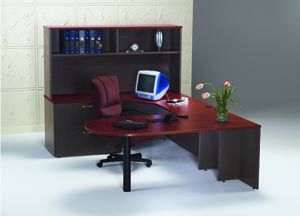 hyperwork peninsula u desk hutch