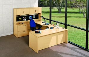 hyperwork round cutout u desk