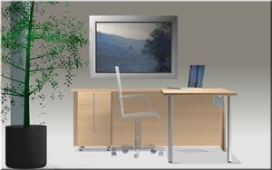 """Single pedestal """"L"""" desk"""