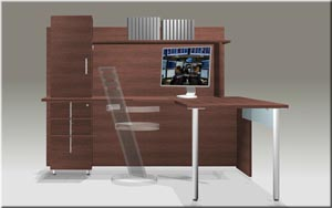 "Single pedestal ""L"" desk with integrated hutch"
