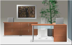 "Computer ""L"" desk with double lateral file credenza"