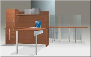 "Visions ""L"" desk with integrated hutch"