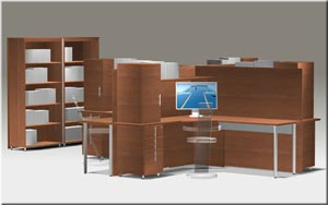 Quad workstation with integrated hutch