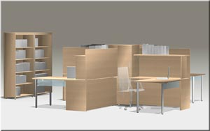 Quad workstation with integrated hutch with bookcase in Natural Maple