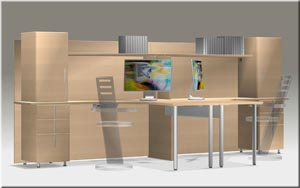 Double inside corner workstation with integrated hutch in Natural Maple
