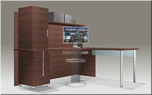 """L"" corner computer workstation with integrated hutch"