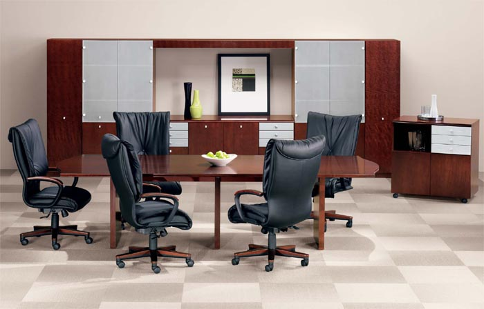 slab base conference table suite