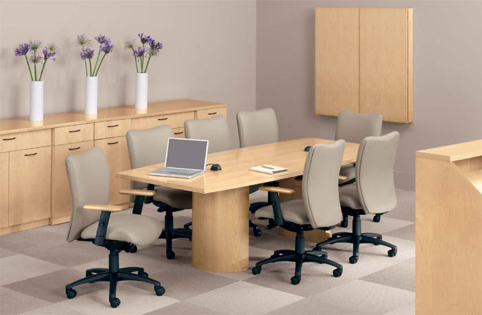 maple finish suite with cylinder base conference table