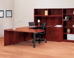 Allegiance Veneer office furniture with the option of a high pressure laminate top.