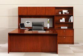 Encompass Veneer contemporary office furniture with the option of laminate tops.