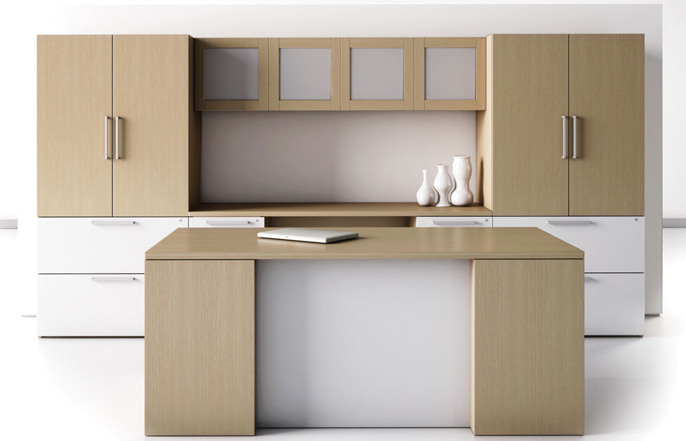 This modern office furniture arrangement consists of executive desk   kneehole computer credenza  overhead storage hutch with doors  lateral file  storage  Canvas Series Indiana Furniture. Executive Office Furniture Arrangement. Home Design Ideas