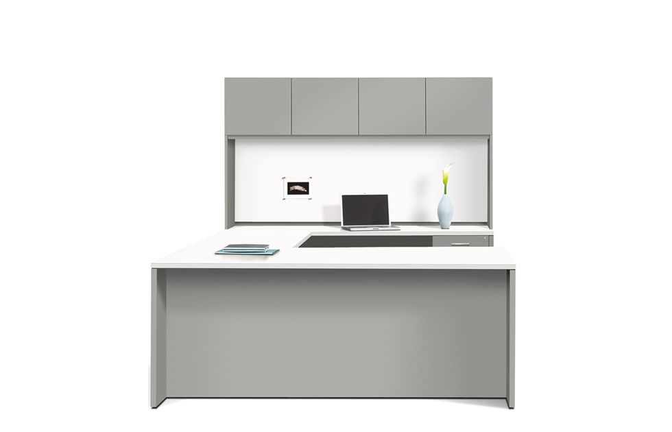 Executive U Consisting Of Single Pedestal Desk Bridge Credenza And Storage Hutch With Doors Tack Board