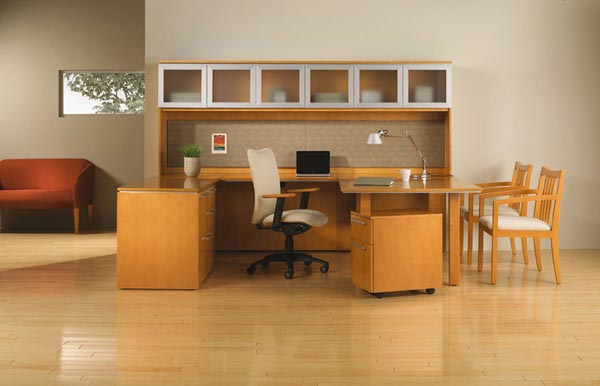 Executive office suite consisting of table desk, bridge, combo cabinet credenza, storage overhead glas panel door hutch with tack board