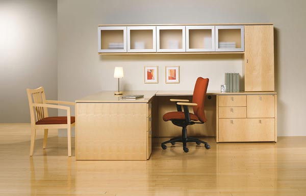 "Executive ""L"" desk with combo cabinet, storage cabinet and overhead glass panel door storage unit"