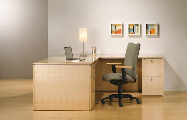 "Executive ""L"" with a single pedestal desk with two box drawers and a file drawer, and a single pedestal return with two file drawers"