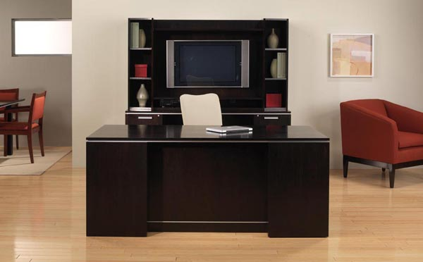 Beautiful contemporary furnished office suite consisting of executive desk, kneehole computer credenza, storage multi media hutch