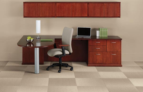"""Executive Peninsula """"L"""" desk consisting of a peninsula table, multi-file return with hanging overhead storage with doors."""