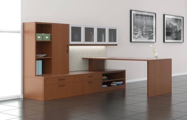 Executive transitional table desk with storage credenza and storage hutch with doors.