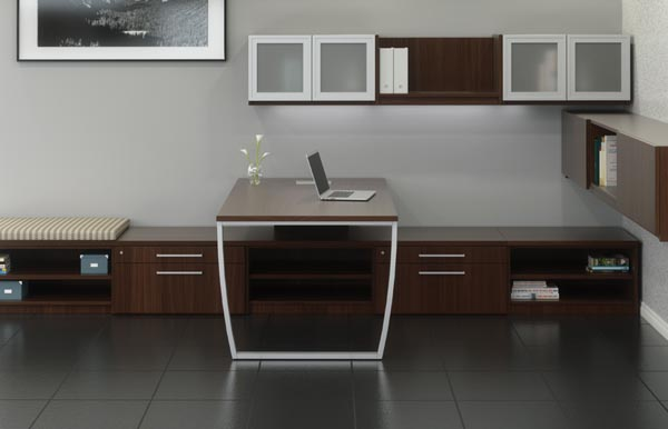 "Executive ""U"" desk consisting of a single pedestal desk, bridge, single pedestal credenza with overhead storage with doors"