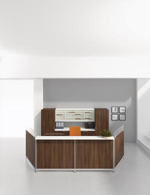 Modular Reception Desk Workstation With Matching Credenza Wardrobe Cabinets And Overhead Pigeon Hole Hutch