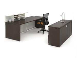 Reception desk with transaction counter with credenza