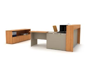 "Reception ""L"" desk with matching book shelf lateral file credenza"
