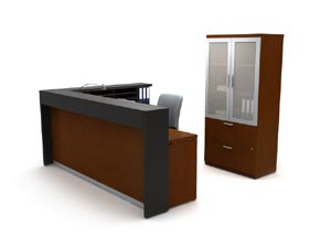 "Reception ""L"" with transaction full lenght counter with lateral file and glass door bookcase cabinet"