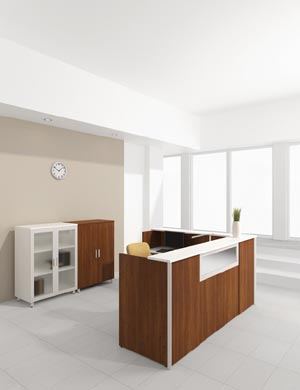 """L"" reception desk with bookcase and storage cabinets"