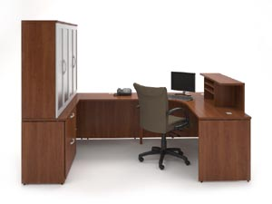"Reception ""L"" with transaction counter on one side with credenza and full door cabinet hutch"