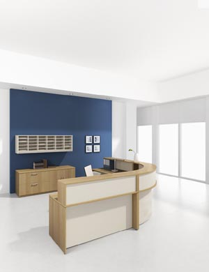 90° Corner reception desk with full length transaction counter with matching lateral storage credenza and pigeon hole hanging overhead storage