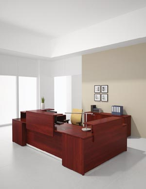 "Reception ""L"" with transaction counter on both sides with credenza"