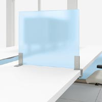Work table translucent divider screen