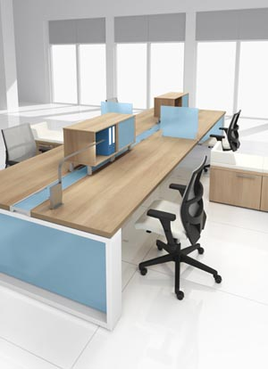 Four unit workstation arrangement