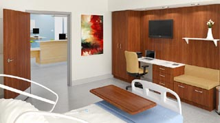 Neocase series healthcare furniture from Groupe Lacasse