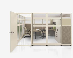 nvision wall height panel systems with door
