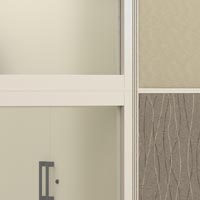 fabric panels and frosted glass panel and cabinet handles