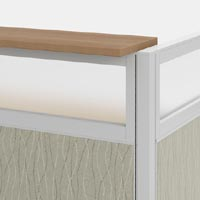 transaction counter with frosted glass panel