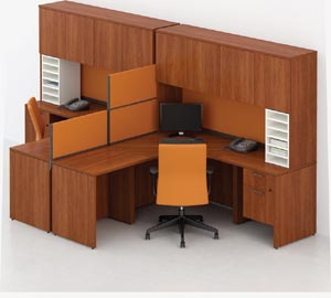 Double corner computer workstation with covered overhead hutches
