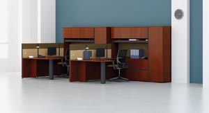 "Double peninsula ""U"" workstations"