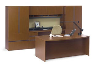 Bow front executive desk with wall unit