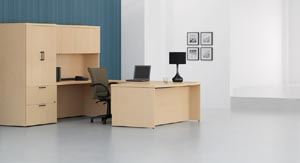 "Executive ""U"" desk with covered overhead hutch with lateral storage cabinet"