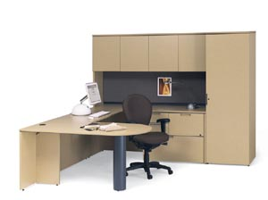 "Peninsula worksurface ""U"" desk with lateral credenza, covered overhead hutch, tack board and wardrobe cabinet"