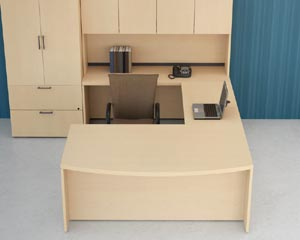 "Overhead view of executive bow front ""U"" desk suite"