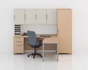 Quad desk credenza set