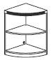 2 shelf 1/4 round bookcase