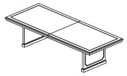 10' to 14' 2 piece rectangular conference table