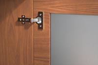 frosted glass door with hinge detail