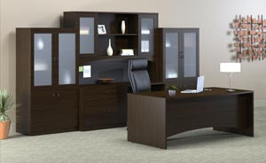 Executive desk, credenza, hutch with double height doors and two storage bookcase frosted panel door cabinets in Mocha